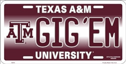 Texas A & M University Gig'Em Embossed Metal License Plate