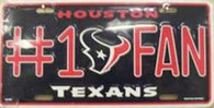 Houston Texans #1 Fan NFL Embossed Metal License Plate