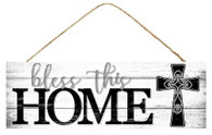"15"" Bless This Home Sign: White/Black"
