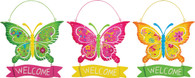 Floral Welcome Butterfly Hangers