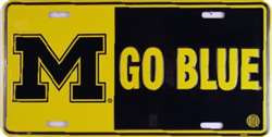 University of Michigan Go Blue Embossed Metal License Plate