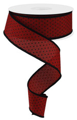 "1.5"" Raised Swiss Dot Ribbon: Red/Black - 10yd"