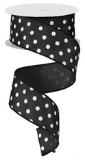"1.5"" Small Polka Dot Ribbon: Black/White - 10yds"