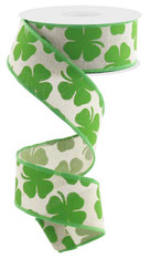 "1.5"" Linen Shamrock Ribbon: Green/Natural - 10Yds"