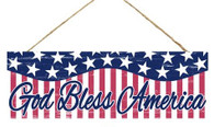 "15"" God Bless America Wood Sign: White"