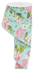 "2.5"" Spring Floral Ribbon: Turquoise - 10Yds"