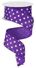 "1.5"" Small Polka Dot Ribbon: Purple/White - 10yds"