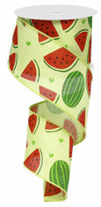 "2.5"" Watermelon Slices Linen Ribbon- 10Yds"