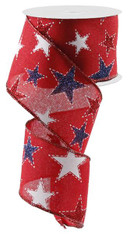 "2.5"" Dashed Glitter Star Ribbon: Red- 10Yds"