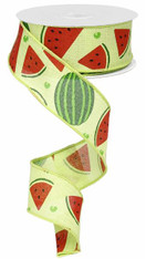 "1.5"" Watermelon Slices Linen Ribbon- 10Yds"