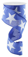 "2.5"" X 10Yds Bold Glitter Star Ribbon: Royal Blue/White"