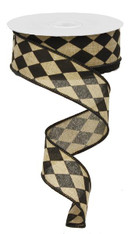 "1.5"" Canvas Harlequin Ribbon: Beige/Blk - 10Yds"