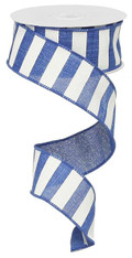 "1.5"" x 10yd Horizontal Stripe Ribbon: Royal Blue/White"