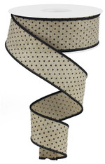 "1.5"" Raised Swiss Dot Ribbon: Lt Beige/Black - 10yd"