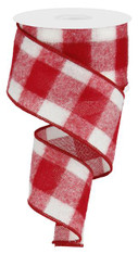 "2.5"" Fuzzy Large Check Ribbon: Red/White - 10Yds"