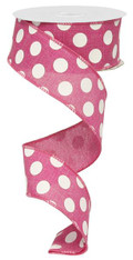 "1.5"" Linen Polka Dot Ribbon: Fuchsia/White"