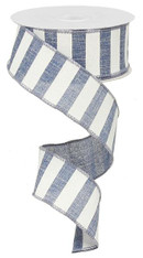 "1.5"" x 10yd Horizontal Stripe Ribbon: Denim Blue/White"