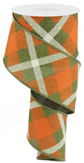 "2.5"" Diagonal Plaid Ribbon: Fern/Orange/Cream - 10yds"