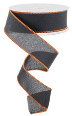 "1.5"" Rough Stitch Edge Ribbon: Black/Orange - 10Yd"