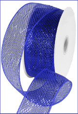 "Metallic Royal Blue w/ Blue Foil Deco Mesh - 2.5"" X 25Yds (RS200425)"