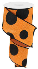 "2.5"" x 10yd Faux Burlap Giant Dot Ribbon: Orange/Black"