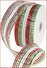 "Red/White/Lime Wide Foil Stripe Mesh Ribbon - 2.5"" x 25Yd"
