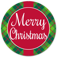 "12"" Round Merry Christmas Plaid Sign"