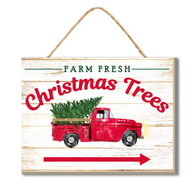 "6"" Farm Fresh Christmas Trees Truck Sign"