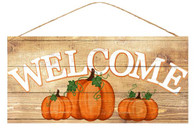 "12.5"" Fall Welcome Sign with Pumpkins"