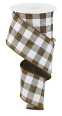 "2.5"" Plaid Check Ribbon: Brown/White - 10Yds"