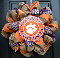 Clemson Tigers Burlap Wreath with Chevron