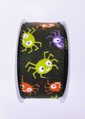 "1.5"" Funky Spider Ribbon: Black - 10yds"