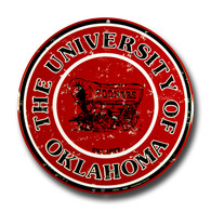 University of Oklahoma Sooners Embossed Metal Circular Sign