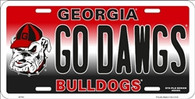University of Georgia Go Dawgs Embossed Metal License Plate