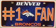 Denver Broncos #1 Fan NFL Embossed Metal License Plate