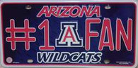 University of Arizona #1 Wildcats Fan Embossed Metal License Plate