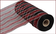 "Garnet and Black with White Stripe Mesh - 10"" x 10Yd (RE1316MF)"