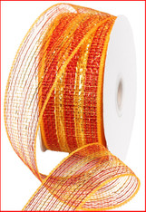 "Gold Red Thin Stripe Foil Deco Mesh - 2.5"" X 25Yds (RS2012A8)"