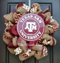 Texas A&M Aggie Circular Sign Burlap Wreath with Chevron
