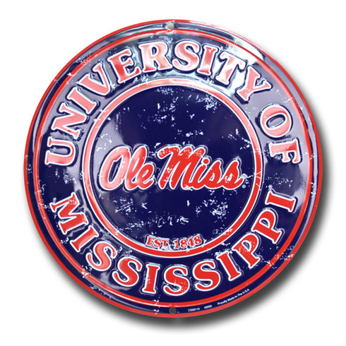 Ole Miss University Embossed Metal Circular Sign