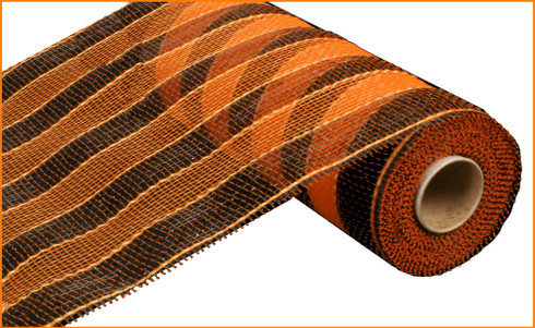 "Black and Orange Stripe - 10"" x 10Yd (RE1316E8)"