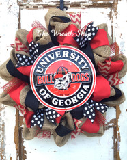 University of Georgia Burlap Wreath with Bulldog Sign