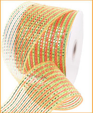 "Orange Lime Green Multi Stripe Deco Mesh - 4"" X 25Yds (RS2071W6)"
