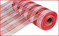 """10"""" Deco Poly Mesh: Red and White Plaid with Metallic Red Foil"""