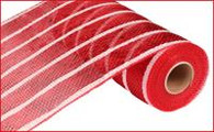"10"" Deco Poly Mesh: Deluxe Metallic Wide Red with White Stripe"