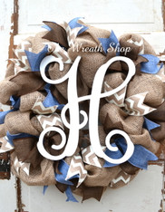 Burlap Vine Monogram Wreath in Denim Brown and Ivory