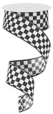 "Black and White Mini Check Ribbon - Satin Wired - 1.5"" X 10Yds"