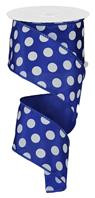 "Royal Blue and White Polka Dot Satin Ribbon Wired 2.5"" x 10Yds"