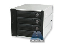 "4-in-3 SATA/SATA Backplane Module (black), steel/aluminum, steel frames, fits in three 5.25"" bay. 150MB/s max speed."