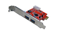SuperSpeed USB 3.0 (2-Port) PCI-E Host Controller w/ 4-pin molex power connector. Powered by NEC chipset. Compliant with USB 3.0 specification and backward compatible to 2.0/1.1 devices. A low profile bracket included.